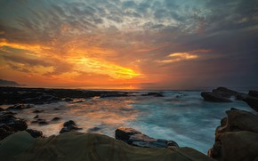 Picture sea, wave, the sky, the sun, clouds, sunset, stones, rocks, shore, coast, the evening, horizon, …