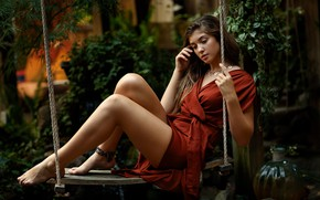 Picture girl, swing, legs, Ava, Sergey Bidun