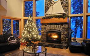 Picture sofa, tree, window, Christmas, fireplace