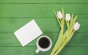Picture Cup, bouquet, coffee, tulips, white, Breakfast