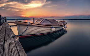 Picture sunset, lake, boat, pier