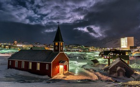 Picture mountains, night, the city, home, Denmark, lighting, Church, Greenland, snow, Nuuk