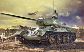 Picture Truck, bomber, Tank, PE-2, T-34-85, Tanker, Opel Blitz