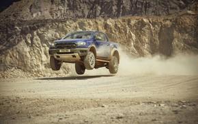 Wallpaper jump, Ford, Raptor, pickup, Ranger, quarry, 2019