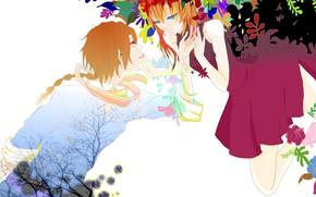Picture flowers, romance, anime, art, pair, GinTama, Fan Art