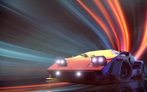 Picture Lamborghini, Neon, Countach, Lamborghini Countach, Synth, Retrowave, Synthwave, New Retro Wave, Videogame, Futuresynth, Sintav, Retrouve, ...
