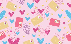 Picture background, texture, hearts, pattern, letters, envelopes, Seamless
