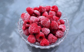 Picture frost, glass, berries, raspberry, background, bowl, vase, frost, cold, frozen