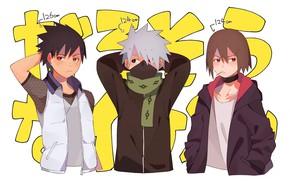 Picture scarf, jacket, friends, vest, Sarutobi Located, Hatake Kakashi, Naruto Shippuden, three guys, Naruto shippuuden, Hayate …