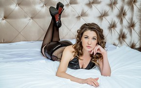 Picture girl, pose, bed, stockings, shoes, brown hair, curls, Николай Смолянкин