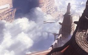 Picture city, fantasy, airship, aircraft, clouds, steampunk, digital art, buildings, artwork, skyscrapers, fantasy art, zeppelin, fantasy …