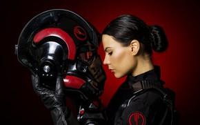 Picture girl, face, costume, helmet