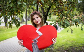 Picture look, girl, love, smile, Park, heart, half
