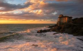 Picture sea, sunset, house, castle, rocks, shore, surf, mansion