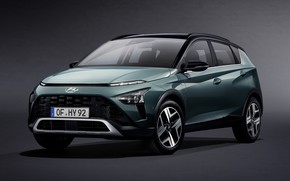 Picture hyundai, crossover, grey background, 2021, bayon