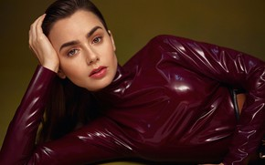 Picture eyes, look, girl, pose, actress, beautiful, Lily Collins, Vogue