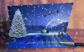 Picture snow, postcard, winter, tree, New year
