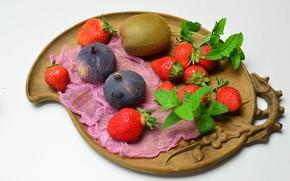 Picture kiwi, strawberry, plate, figs, gauze
