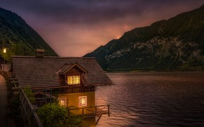 Picture forest, trees, mountains, lights, lake, rocks, shore, the evening, Austria, houses, Lake Hallstatt