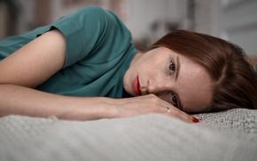 Picture girl, dress, freckles, the beauty, Alexander Kurennoy