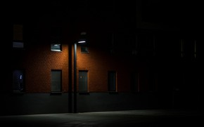 Picture night, darkness, street, Windows, lantern