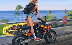Picture girl, palm trees, speed, sneakers, motorcycle, backpack, coast, surfboard, shorts, asphalt road, by Azamat Khairov
