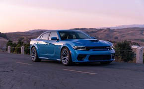 Picture sunset, the evening, Dodge, Charger, Hellcat, SRT, Widebody, 2019, Daytona 50th Anniversary