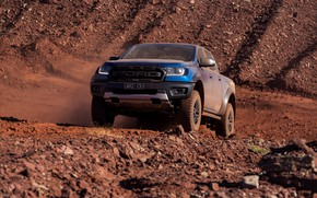 Picture blue, Ford, Raptor, pickup, 2018, the ground, Ranger