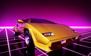 Picture Lamborghini, Machine, Graphics, Neon, Countach, Lamborghini Countach, 80's, Synth, Game Art, Retrowave, Synthwave, New Retro …