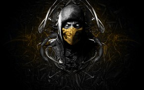Picture face, mask, game, scorpion, face, mortal kombat