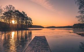 Picture winter, bridge, lake