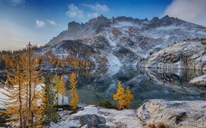 Wallpaper winter, autumn, forest, the sky, clouds, snow, trees, mountains, lake, reflection, stones, rocks, blue, shore, ...