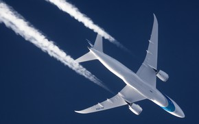 Picture The plane, Boeing, Dreamliner, Airliner, In flight, Israel Airlines, Contrail, Boeing 787-8 Dreamliner