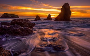 Picture sea, wave, beach, the sky, clouds, light, landscape, sunset, yellow, bright, stones, the ocean, rocks, …