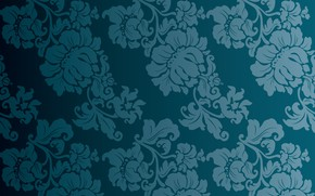 Picture flowers, blue, background, vintage