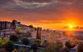 Picture sunset, home, slope, Italy, Tuscany