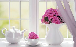 Picture flowers, kettle, window, Cup