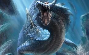 Picture water, grin, monster, fantastic animal, из глубин океана, подводный монстр