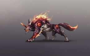 Picture Fantasy, Fire, Monster, Art, Flame, Style, Wolf, Minimalism, Characters, Jangwon Park, Wolf Monster