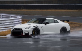Picture white, Nissan, GT-R, track, R35, Nismo, 2019