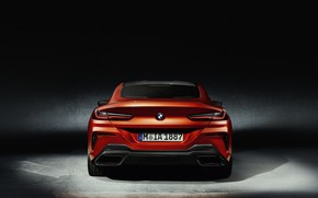 Wallpaper BMW, orange, 8-Series, coupe, Eight, 2018, rear view, background, Coupe