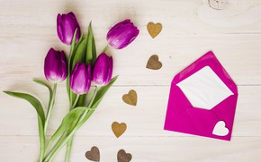 Picture bouquet, hearts, tulips