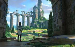 Picture trees, dog, animal, ruins, castle, artist, digital art, artwork, childs, fantasy art, adventure, arch, Florent …