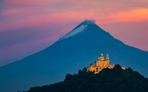 Picture Mexico, Mountain, Church, Cholula, Volcanic Shrine