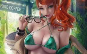 Picture girl, sexy, cleavage, long hair, boobs, anime, beautiful, pretty, redhead, erotic, swimsuit, breasts, Pokemon, glasses, …