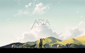 Picture sky, animals, nature, anime, dog, clouds, Aria, sheep, artwork, countryside, shepherd, flock, anime girl, Aria …