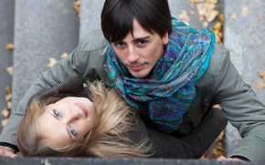 Picture autumn, look, girl, pair, male, lovers