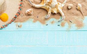 Picture sand, beach, summer, Board, star, shell, summer, beach, wood, sand, starfish, seashells