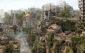 Picture waterfall, destruction, Cathedral, ruins, Sorry Earth