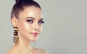 Picture face, portrait, makeup, hairstyle, blue eyes, peer, woman, portrait
